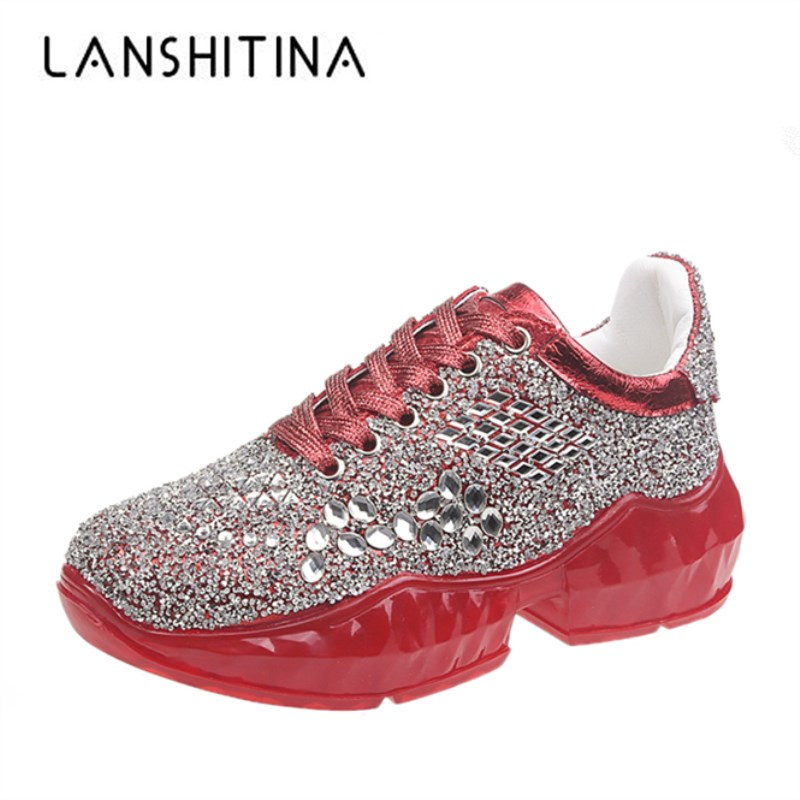 2020 New Spring Crystal Shoes Women Plaform Bling Casual Shoes Silver Chunky Sneakers Woman 5CM Heels Breathable Rhinestone Shoe
