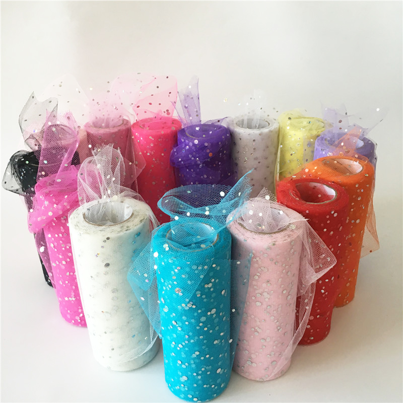 9.2/22m Glitter Sequin Tulle Roll 10/25 Yards 15cm Spool Tutu Wedding Decoration Organza Laser DIY Craft Birthday Party Supplies(China)