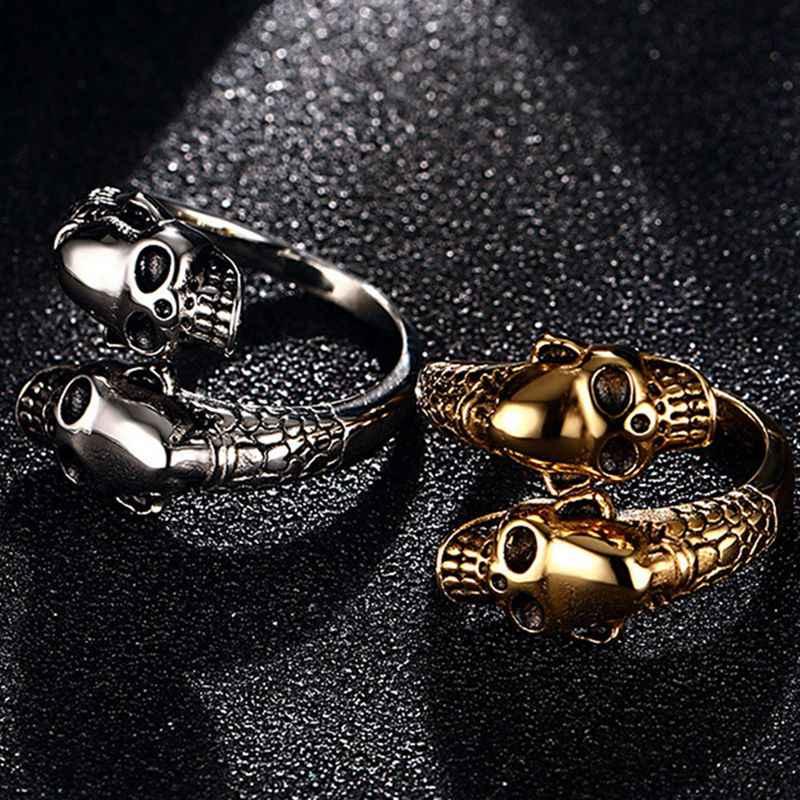 Anillo de apertura de acero inoxidable de moda para hombre anillos de calavera de color oro Punk para Mujeres Hombres anillo ajustable club fiesta regalos de joyería
