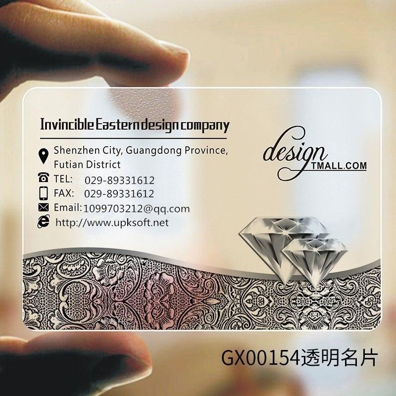 Business Personalized Transparent PVC Business Card Customization 200pcs / Set Personal Professional Business Card Customization