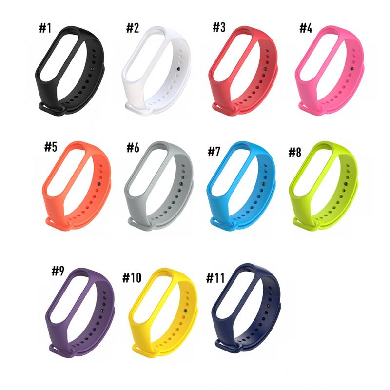 Браслет силиконовый для часов Xiaomi, ремешок на замену для Mi Band 3/4, 11 цветов