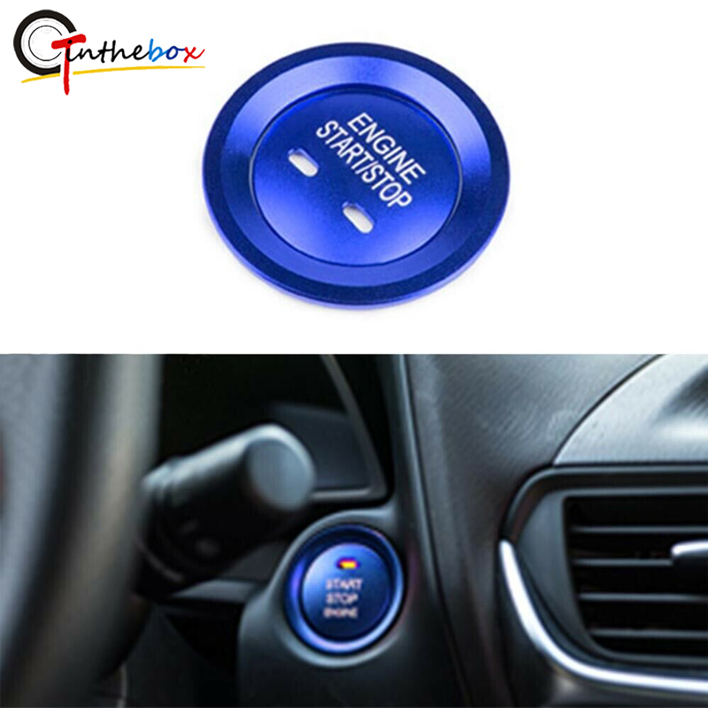 GTinthebox Blue Aluminum Car Keyless Engine Push Start Button & Surrounding Ring For Chevrolet Impala,Cruze Malibu,Cadillac CTS