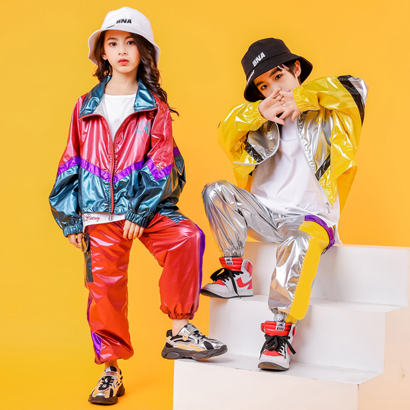 Hip Hop Costume Hiphop Kids Street Dance Clothes Long Sleev Bright Jacket Pants Stage Outfits Jazz Wear Girl Set Boy Clothes (2)