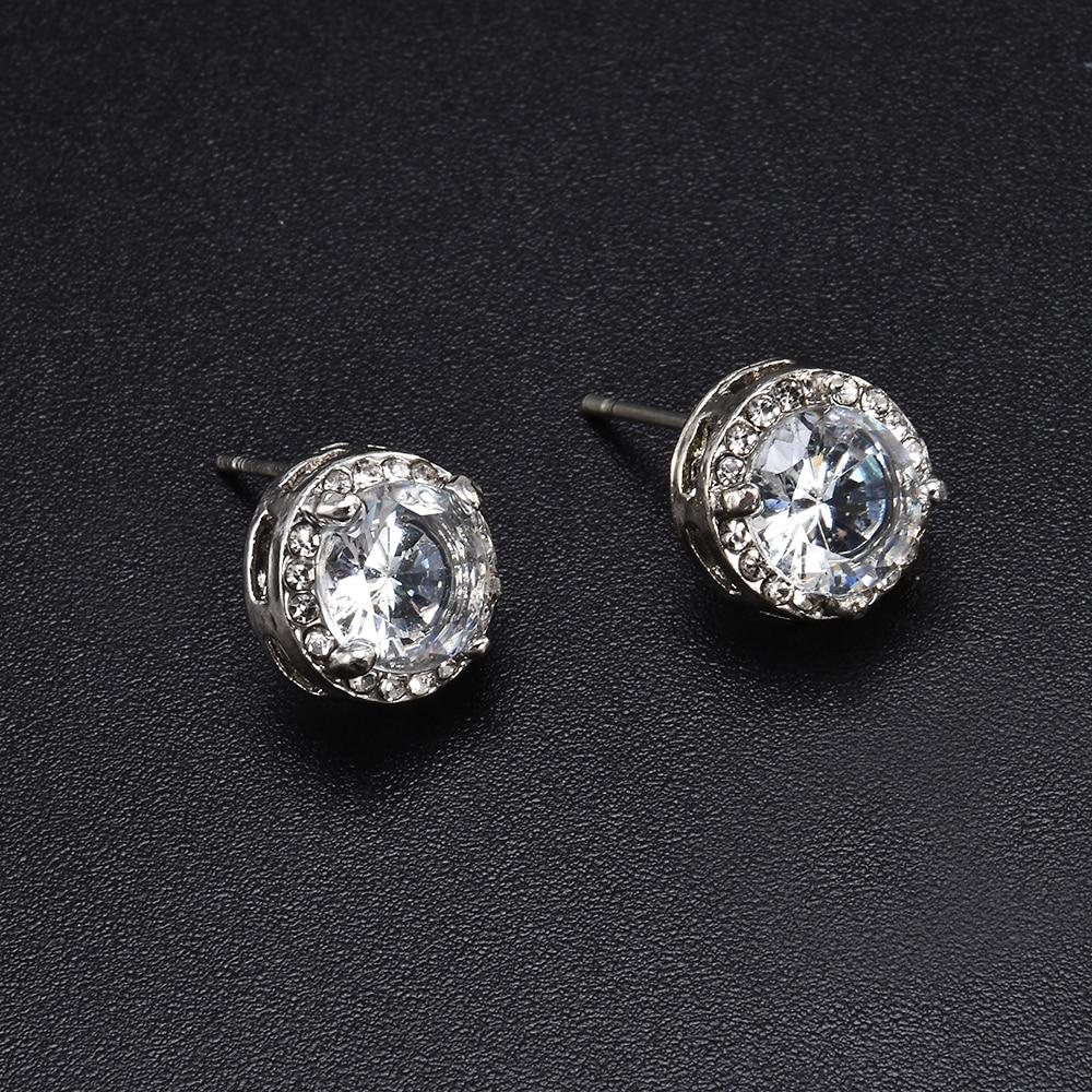 Fashion Women Girl White Rhinestone Crystal Round Metal Zircon Ear Stud Earrings Patry Earring Jewelry 4
