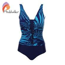 Andzhelika 2020 nova mulher plus size maiô impressão de uma peça roupa de banho dobra bodysuit praia de verão brasileiro monokini