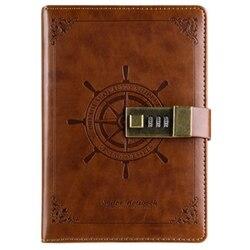 B6 Vintage notatnik notatnik pamiętnik codzienne notatki planer planer Pu skórzany szkicownik z zamkiem biuro Student hasło Bo