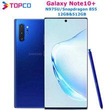 Samsung Galaxy Note10 + Note10 Plus N975U оригинальный телефон, Snapdragon 855 Восьмиядерный, экран 6,8 дюйма, двойная камера 16 МП и двойная камера 12 Мп, 12 Гб ОЗУ и 512 ГБ