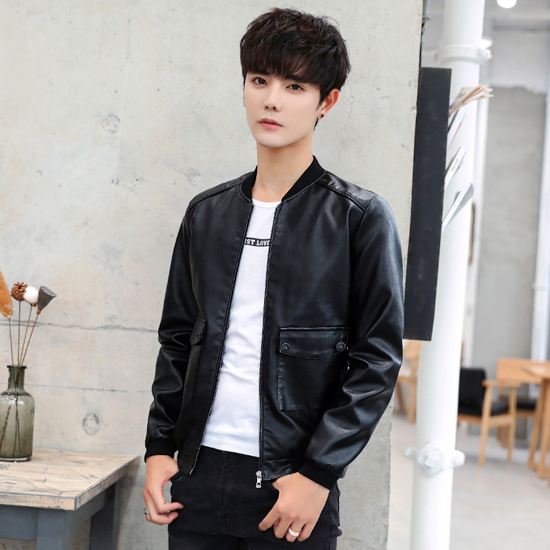 Youth Fashion PU Leather Jacket 2018 Casual MEN'S Coat Korean-style Trend Men'S Wear Autumn New Style MEN'S Leather Coat