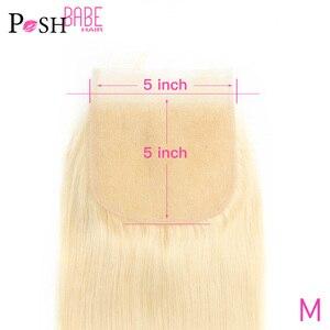 POSH BABE 613 Honey Blonde Bleached Knots 5*5 Closure 8 - 22 Inch Malaysian Remy Straight Human Hair Lace Closure Free Shipping(China)