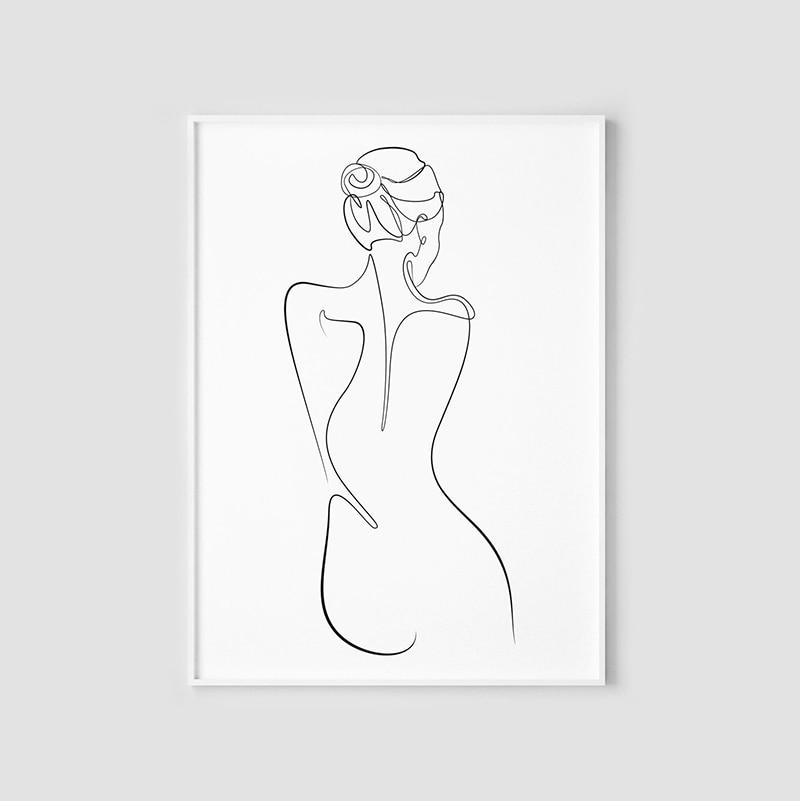 Woman One Line Drawing Female Figure Printable Wall Art Nude Art Woman Body Illustration Abstract Poster Minimalisegant Ske Aliexpress