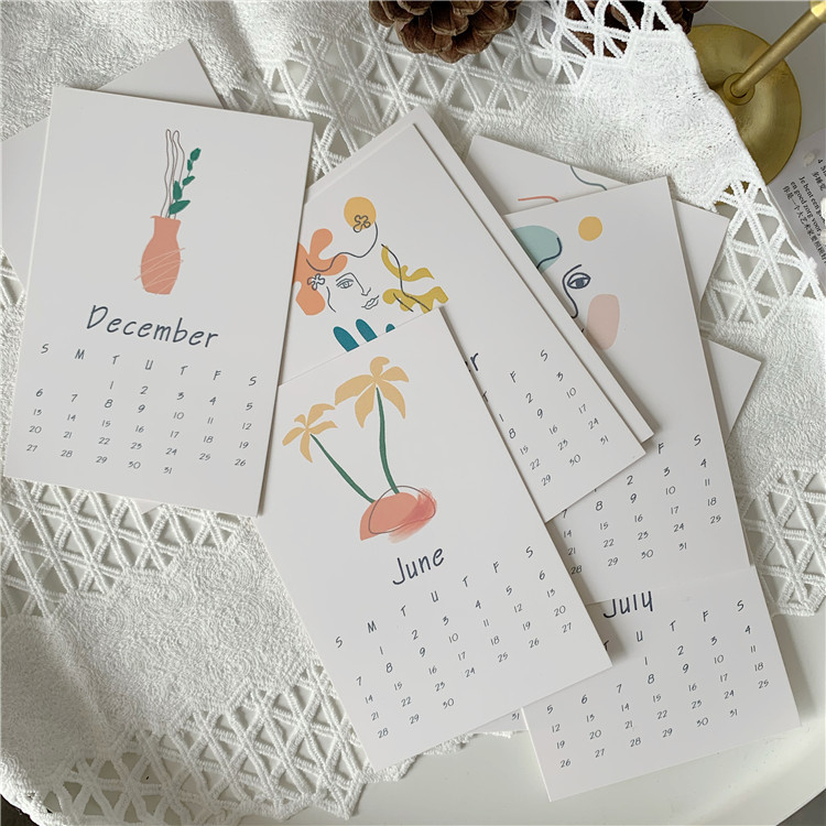 Ins 2020 Abstract Painting Calendar Card 12sheets Morandi Retro Art Bedroom Wall Simple Creative Decoration Postcard Stationery