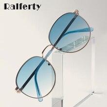 Ralferty round sunglass mulher 2020 armação de metal do vintage proteção uv gradiente óculos de sol feminino w2035