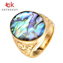 Luxury Colorful Shell Ring Stainless Steel For Women Signet Dazzle Artificial Coral Vintage Oval Big Gold Color Rings
