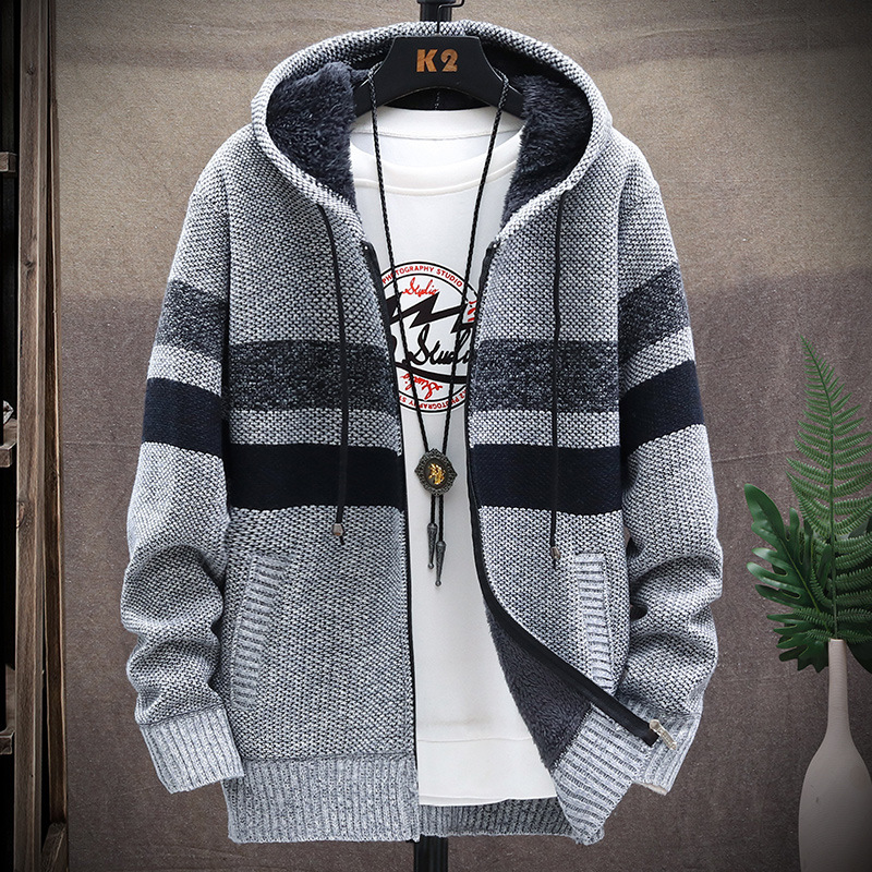 Winter Fleece Warm Sweater Men Hooded Cardigan Mens Striped Patchwork Slim Sweaters Coat Knitted Men's Christmas Jumper Clothing 3
