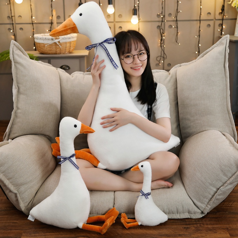 Ins Hot Big White Goose Pillow  Plush Toy Cute Sleeping Pillow High Quality Stuffed Doll Funny Sweet Gift For Friends Kids