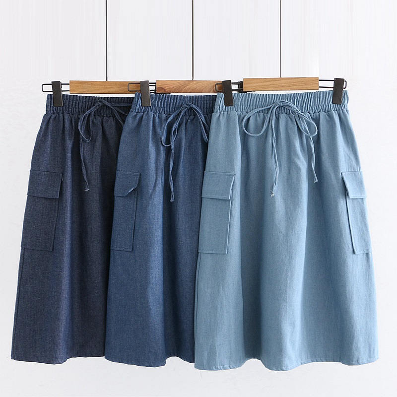 Fashion Korean Was Thin Casual Midi Long Denim Skirt Female 2020 Women Denim Skirt A-line High Waist Drawstring Pocket Skirts