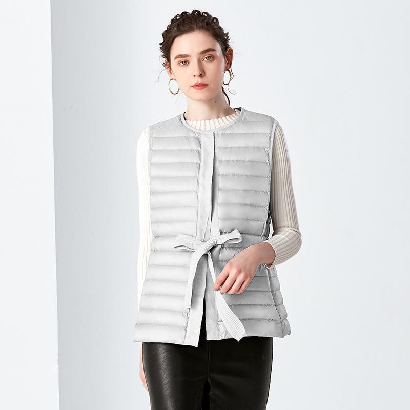 Womens New Fashion Ultra Light   Down   Jackets 2019 Autumn Stand Neck Sleeveless Bandage Jacket Female Casual   Down   Vest   Coats