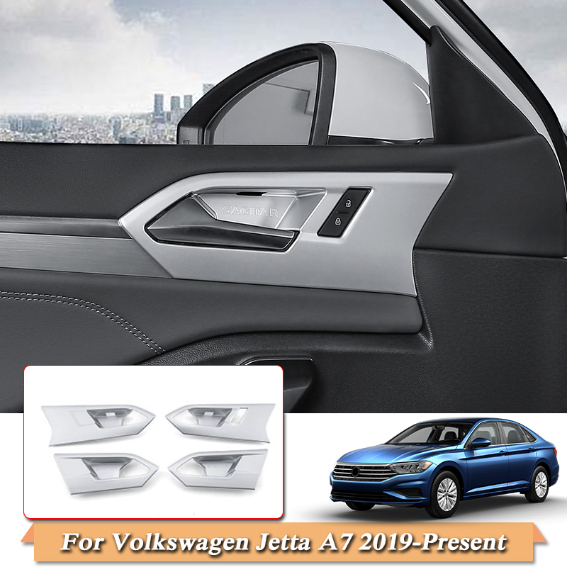 Car Styling ABS For Volkswagen Jetta A7 2019 2020 Car Inside Door Handle Frame Inside Door Bowl Sequins Cover Auto Accessories|Automotive Interior Stickers| |  - title=