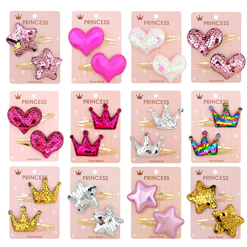 Gradient Color Flip Sequin Five-pointed Star Love Crown Child Baby Hairpin BB Hair Clips For Baby Girls Kids Hair Accessories