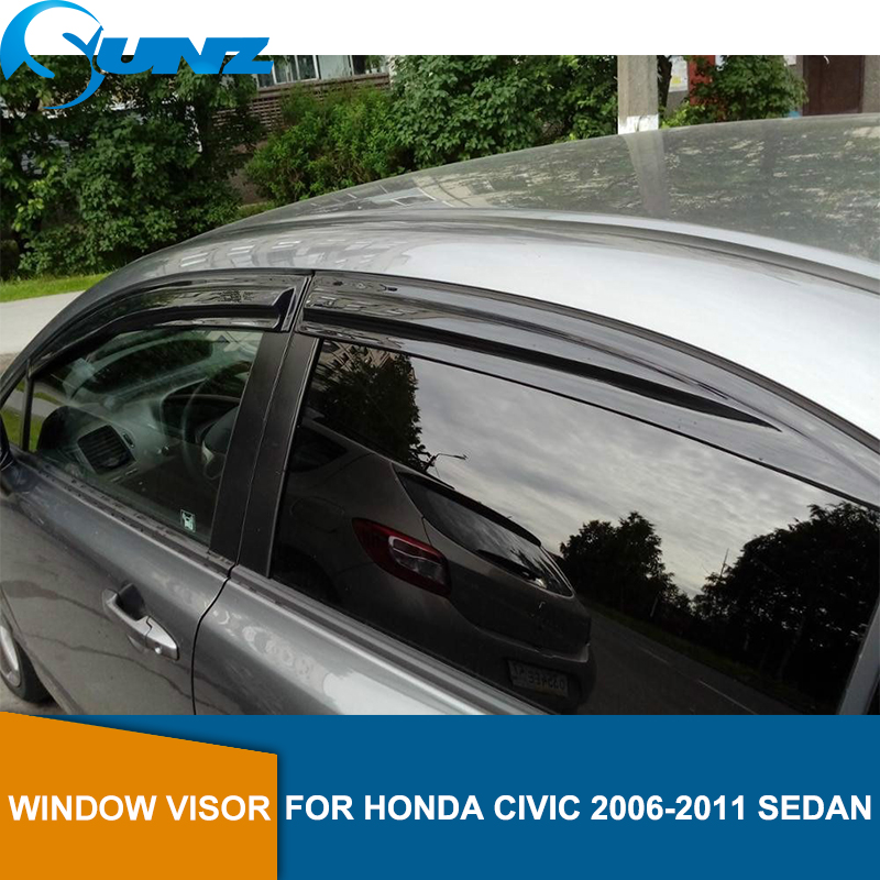 Side Window Deflector For HONDA CIVIC 2006 2007 2008 2009 2010 2011 sedan Window Visor Vent Shades Sun Rain Deflector Guard SUNZ-in Awnings & Shelters from Automobiles & Motorcycles