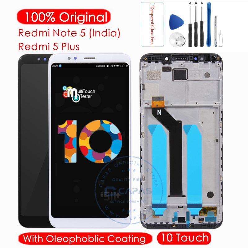 Original For Xiaomi Redmi Note 5 Global LCD Display + Frame 10 TouchScreen For Redmi 5 Plus LCD Digitizer Replacement-in Mobile Phone LCD Screens from Cellphones & Telecommunications