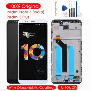 Image 1 - Original For Xiaomi Redmi Note 5 Indian LCD Display + Frame 10 TouchScreen For Redmi 5 Plus LCD Digitizer Replacement