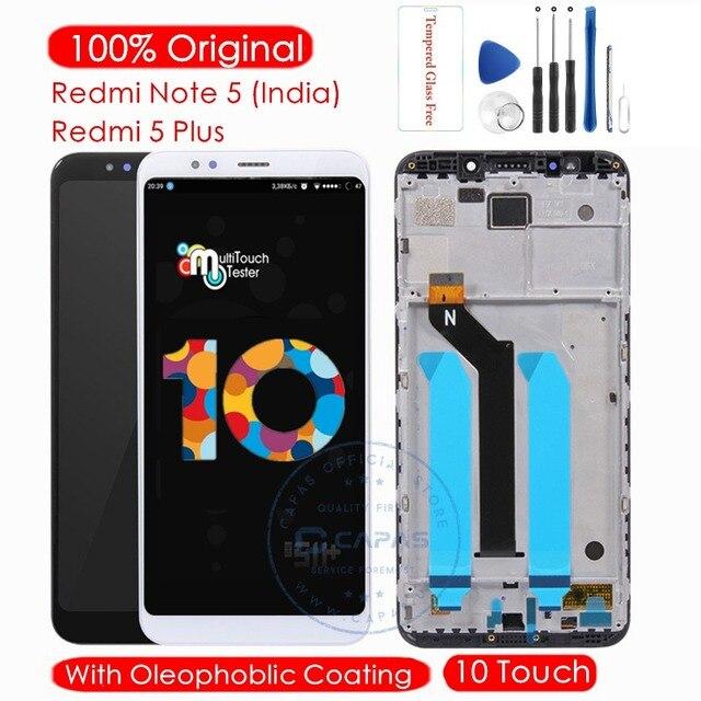 الأصلي ل شاومي Redmi نوت 5 الهندي شاشة LCD + الإطار 10 لمس ل Redmi 5 زائد LCD محول الأرقام استبدال