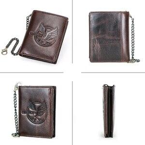 Image 4 - CONTACTS 100% กระเป๋าสตางค์ผู้ชายหนังแท้กระเป๋าเหรียญขนาดเล็กChain Design PORTFOLIO Portemonneeกระเป๋าสตางค์ชายRetroกระเป๋าใส่นามบัตร