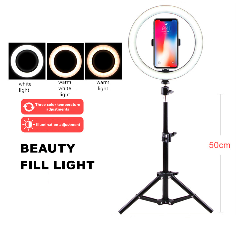 Photography Light Desktop Beauty Light Net Red Live Fill Light Mobile Phone Support Led Ring Light Anchor Photography Tripod26cm