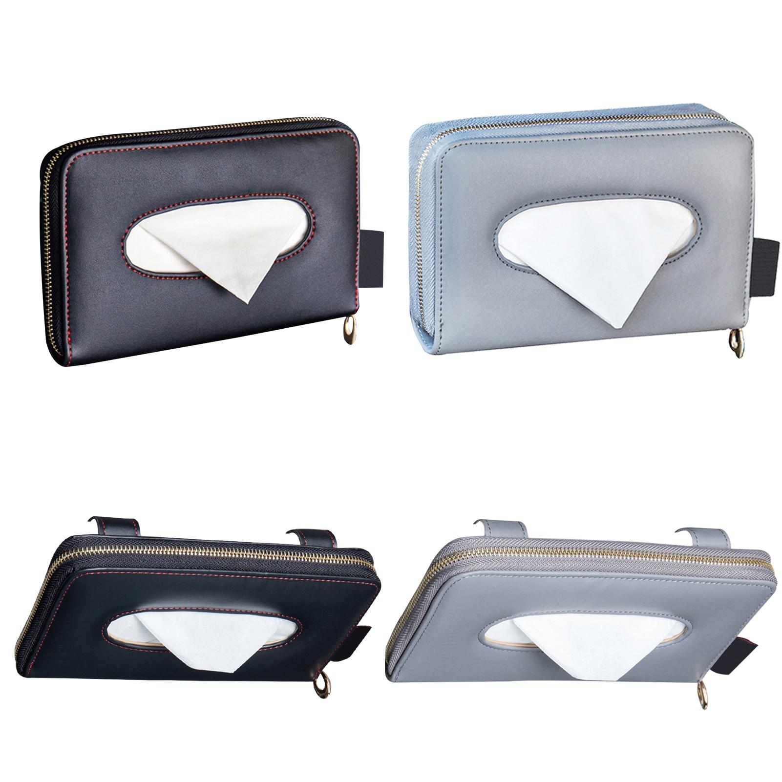 Portable Car Tissue Box Sun Visor Sunshade Tissue Storage Bag Napkin Holder Auto Interior Tissue Storage Decoration