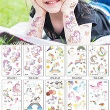 Tattoos Sticker Makeup Unicorns Temporaire Tatouage Body-Arm Children Cartoon Colorful