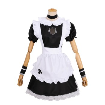 S-4XL Sexy French Maid Costume Sweet Gothic Lolita Dress Anime Cosplay Sissy Maid Uniform Plus Size Halloween Costumes For Wome Women's Clothing & Accessories cb5feb1b7314637725a2e7: Black