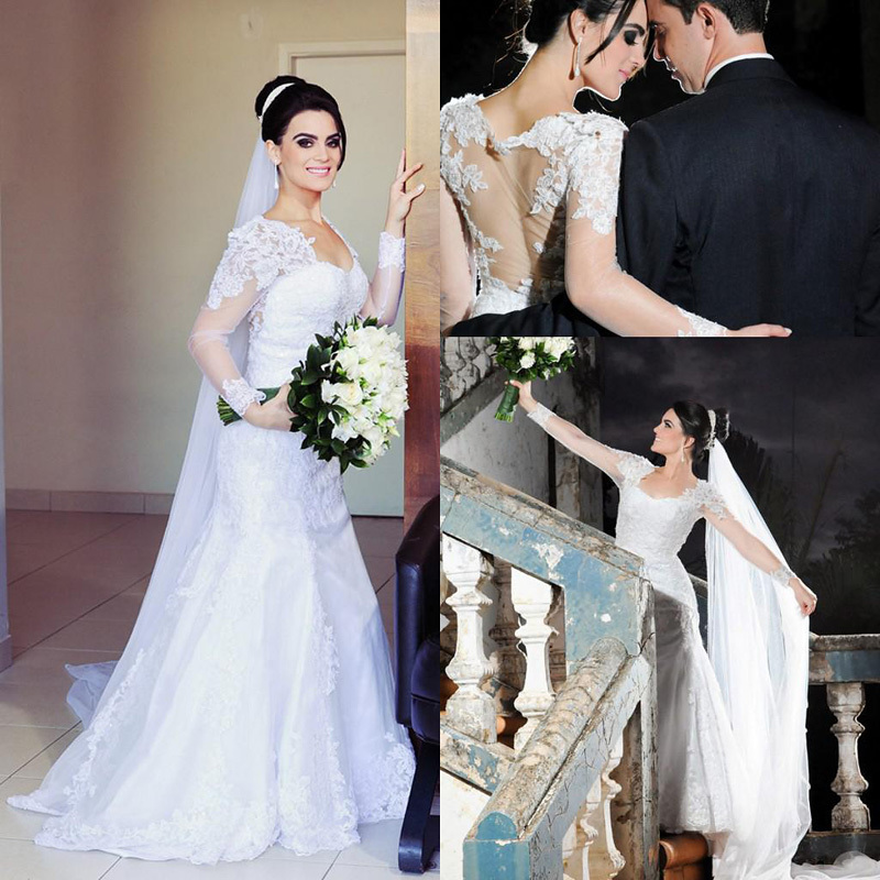 New Arrival Appliques Lace Wedding Dress Sexy Sweetheart A-Line 2015 Vestido De Noiva Romantic Summer Dress