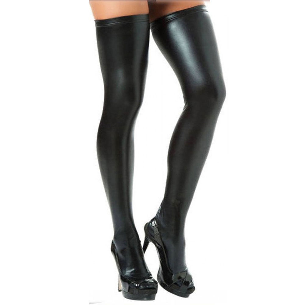 Women's High Stockings Wet Look PU  Leather Thigh High Stockings Stay-Up Leggings
