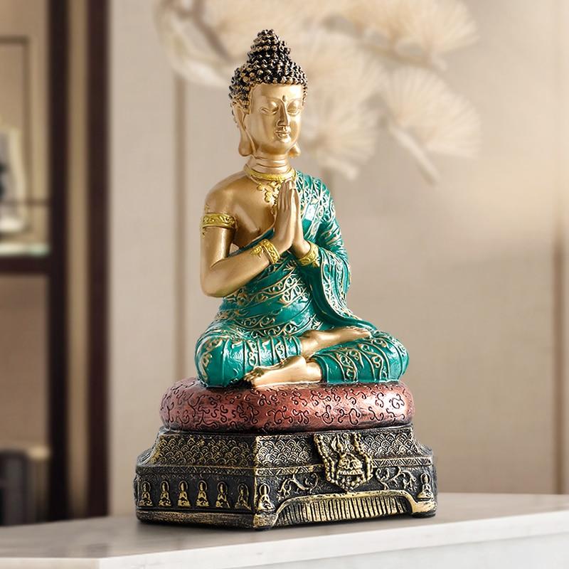 Buddha Statues Thailand For Garden Office Home Decor Desk Ornament Fengshui Hindu Sitting Buddha Figurine Decoration