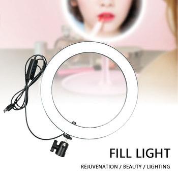 14 6 cala oświetlenie fotograficzne lampa wideo możliwość przyciemniania LED Selfie lampa pierścieniowa USB lampa pierścieniowa z stojak trójnóg do makijażu Youtube tanie i dobre opinie centechia Bi-color 3200 K-5600 K ring for selfie photography lighting video light ring lamp with tripod USB Plug USB charge