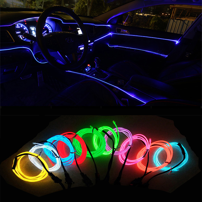 5M Car Interior Lighting Auto LED Strip Decoration Garland Wire Rope Tube Line Flexible Neon Light With 12V USB Cigarette Drive