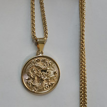 "Auspicious Dragon Pendant Neckalces for Women Men Jewelry Zodiac Gold Color Round Chinese""FU"" Blessing Colar DropshippXL1675S(China)"