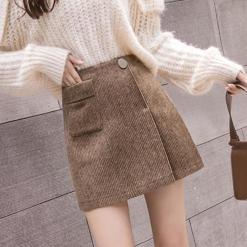 S-2xl Irregular Plaid Woolen Skirt Women 2019 Autumn Women Plus Size Skirts Female Mini Skirts Jupe Femme