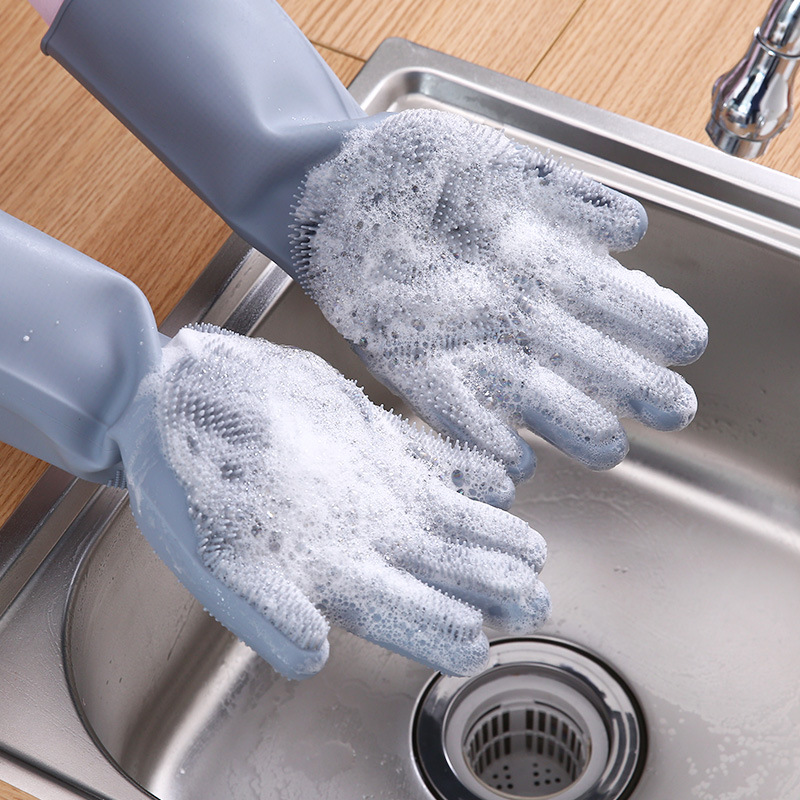 Kitchen Silicone Cleaning Gloves Magic Silicone Dish Washing Gloves For Household Silicone Scrubber Rubber Dishwashing Gloves|Household Gloves| |  - title=