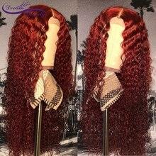 13x6 Синтетические волосы на кружеве парик их натуральных волос бордовый Цветной человеческие волосы кудрявые парики 99j эффектом деграде(переход от темного к Цвет из бразильского Натурального Волоса парик Remy мечта Красота