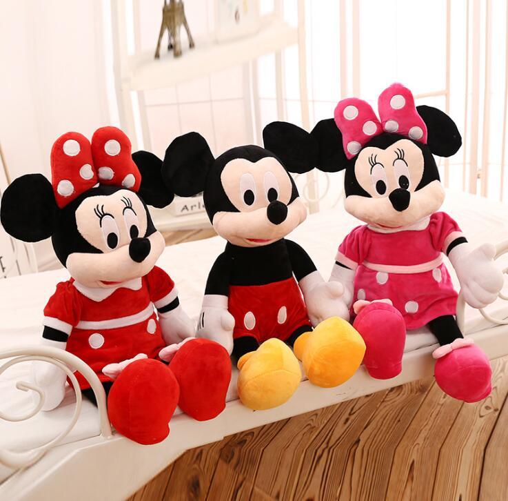 2019 gran oferta 20cm de alta calidad de peluche Mickey y Minnie Mouse muñecas de peluche regalos de bodas, cumpleaños para niños bebés VOZRO gran felpa verde almohadilla de dormir espesamiento cuello almohada de viaje cocodrilo muñeca adultos niños piso Coussin Almofadas Overwatch