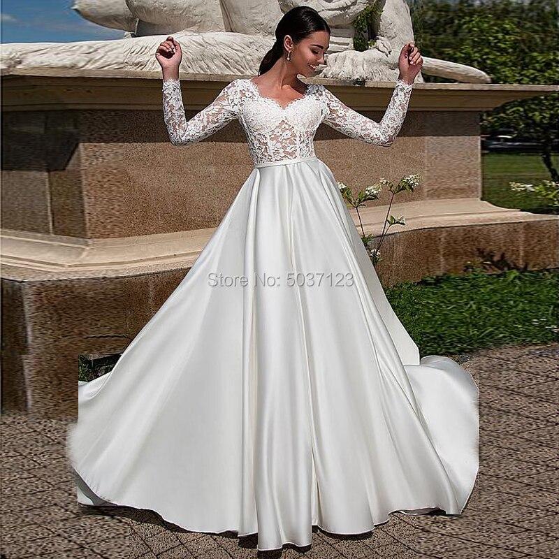 Vestido De Noiva Satin A Line Wedding Dress V Neck Long Sleeves Lace Appliques Backless Zipper Bridal Gown Court Train