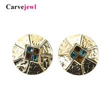 Carvejewl big stud earrings glass crystal stone simple round for women jewelry romantic new fashion European