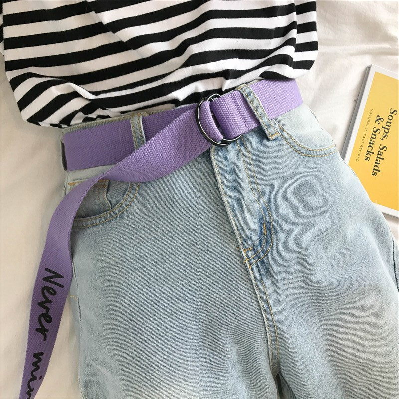 Multiple Color Canvas Belt For Men Women Jeans English Alphabet Personality Double Ring Buckle Belt off white Waistband Z30 in Women 39 s Belts from Apparel Accessories