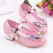 Модная кожаная обувь принцессы для девочек; платье на высоком каблуке; детская Праздничная обувь с украшением в виде кристаллов; детская Свадебная кожаная обувь с жемчугом