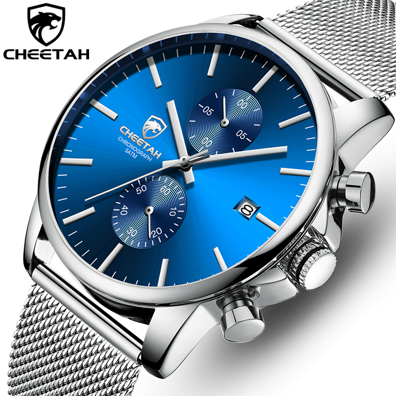 Men Watch New CHEETAH Top Brand Stainless Steel Waterproof Chronograph Watches Mens Business Blue Quartz Wristwatch Reloj Hombre