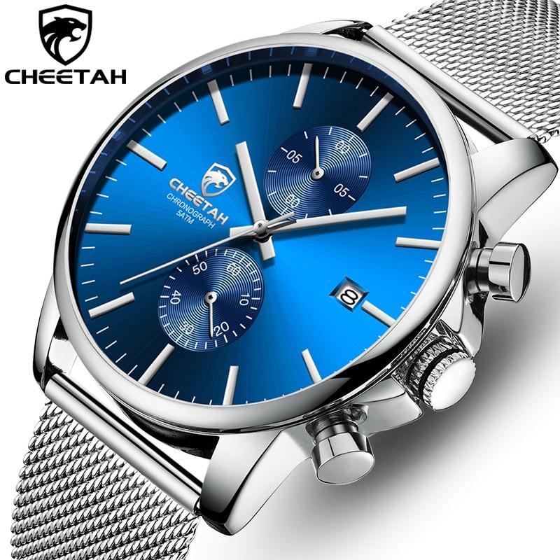 Men Watch New CHEETAH Top Brand Stainless Steel Waterproof Chronograph Watches Mens Business Blue Quartz Wristwatch Reloj Hombre