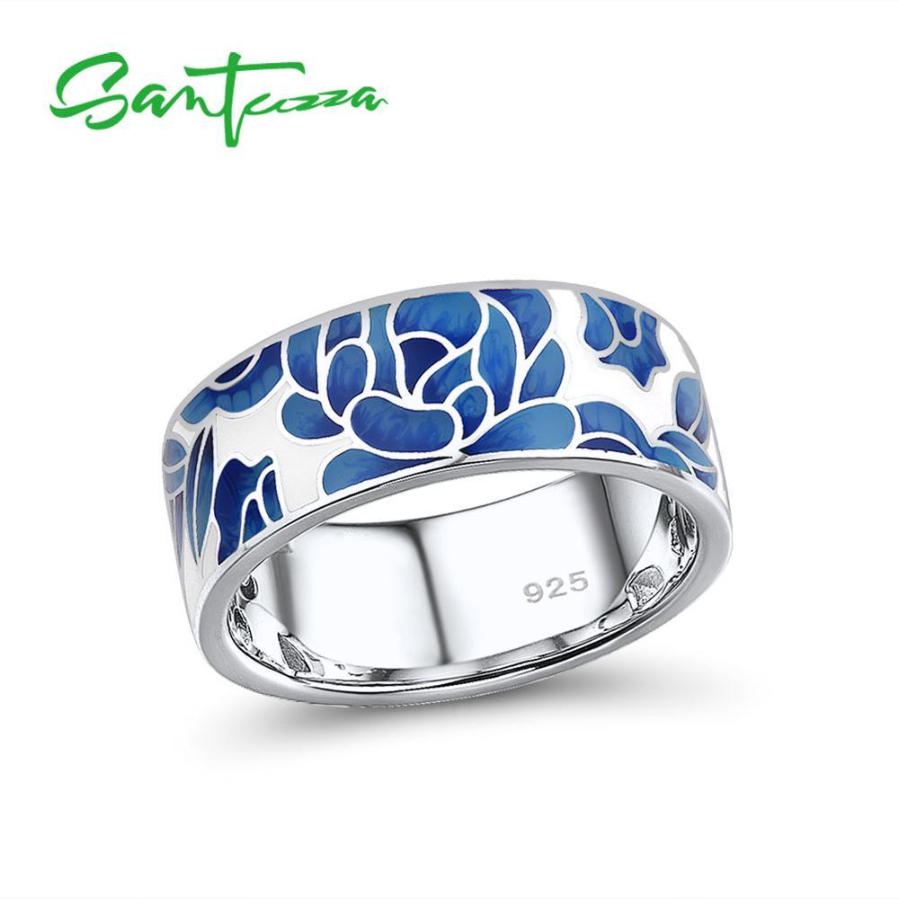 SANTUZZA Silver Rings For Women Genuine 925 Sterling Silver Blue Flower Enamel Rings Trendy Elegant Gift Fine Jewelry Handmade
