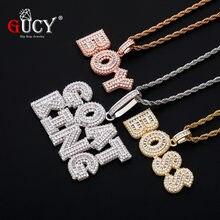 Gucy personalizado nome letras pingente com corda corrente colar conjunto cor de ouro mulher/masculino hip hop fashon jóias para o presente
